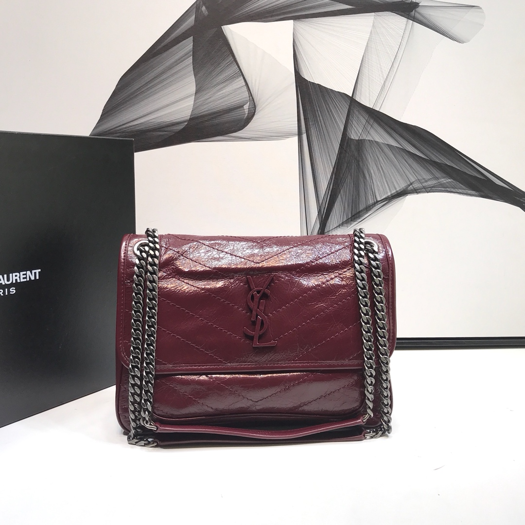 2020 Saint Laurent Medium Niki Chain Bag burgundy leather