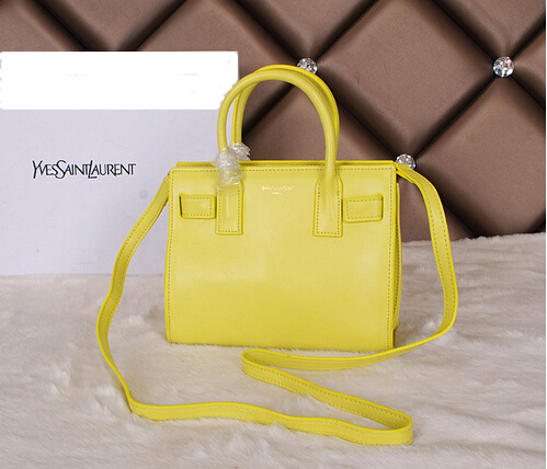 Amazing! 2014 Cheap Saint Laurent Yves - Classic Nano Sac De Jour Bag in Yellow Leather