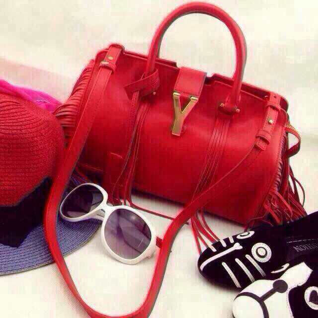 Hurry Up!2015 Hermes Bags Outlet With Free Shipping-2015 New Saint Laurent Bag Cheap Sale- YSL Top Handle Bag in Red Calfskin Leather with Fringe