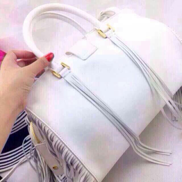 2015 New Saint Laurent Bag Cheap Sale- YSL Top Handle Bag in White Calfskin Leather with Fringe