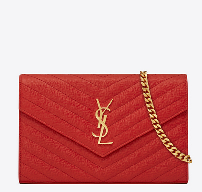 SAINT LAURENT MONOGRAM SAINT LAURENT CHAIN WALLET IN LIPSTICK RED GRAIN DE POUDRE TEXTURED MATELASSÉ LEATHER