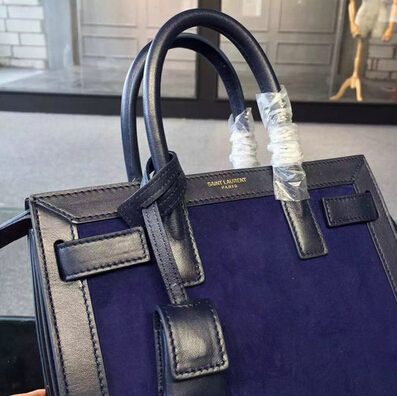 2015 New Saint Laurent Bag Cheap Sale- YSL Classic Small Sac De Jour Bag in Black Leather and Blue Suede Leather