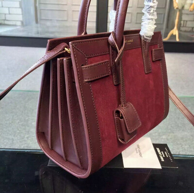 2015 New Saint Laurent Bag Cheap Sale- YSL Classic Small Sac De Jour Bag in Burgundy Suede Leather