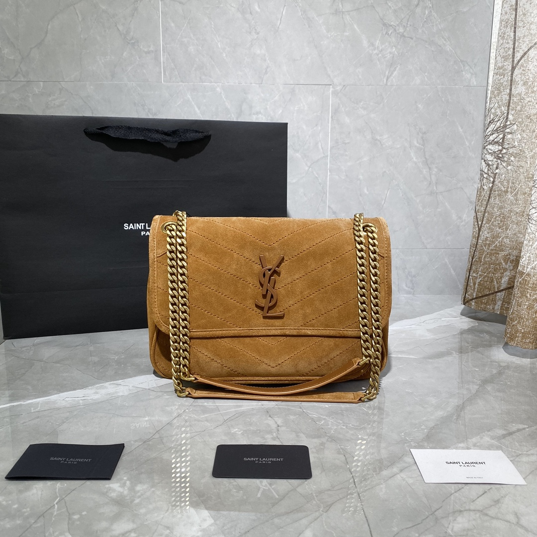 2020 cheap Saint Laurent Niki suede bag brown