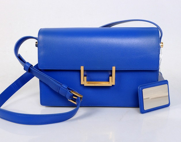 2013 YSL Classic Medium Lulu Bag in blue leather