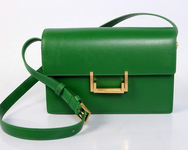 2013 YSL Classic Medium Lulu Bag in Dark Green Leather