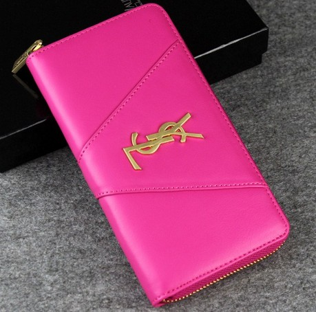-2014 latest Saint Laurent Classic Monogramme Saint Laurent wallet In Hot pink,YSL WALLET 2014