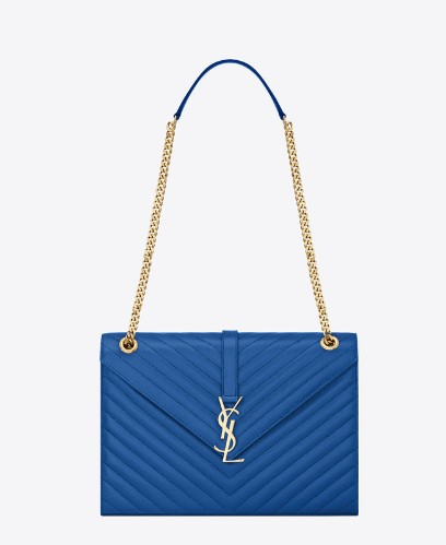 bc0ee57d68a6 -2014Saint Laurent Classic Monogramme Saint Laurent Satchel in Blue Grain  de Poudre Textured Leather