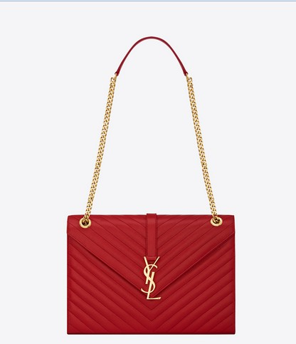-2014Saint Laurent Classic Monogramme Saint Laurent Satchel in red Grain de Poudre Textured Leather