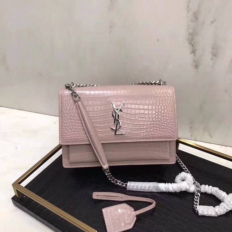 2020 Saint Laurent Medium Sunset Bag pink crocodile leather with silver hardware