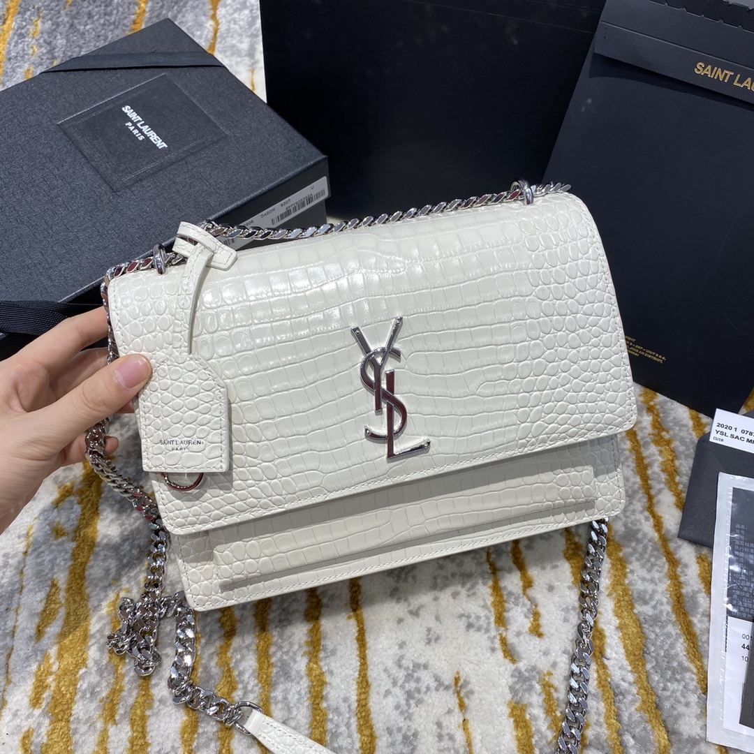 2020 Saint Laurent Medium Sunset Bag white crocodile leather with silver hardware