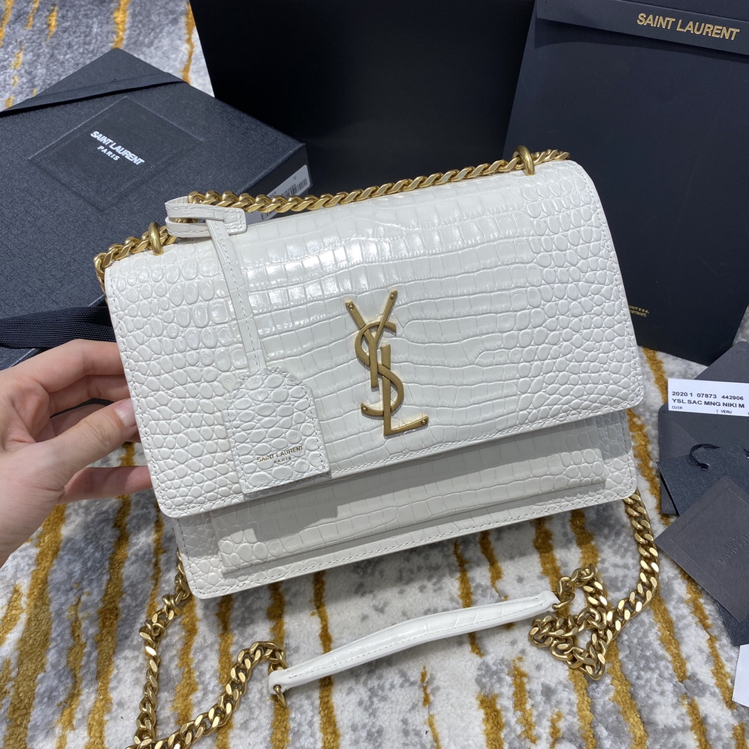2020 Saint Laurent Medium Sunset Bag white crocodile leather