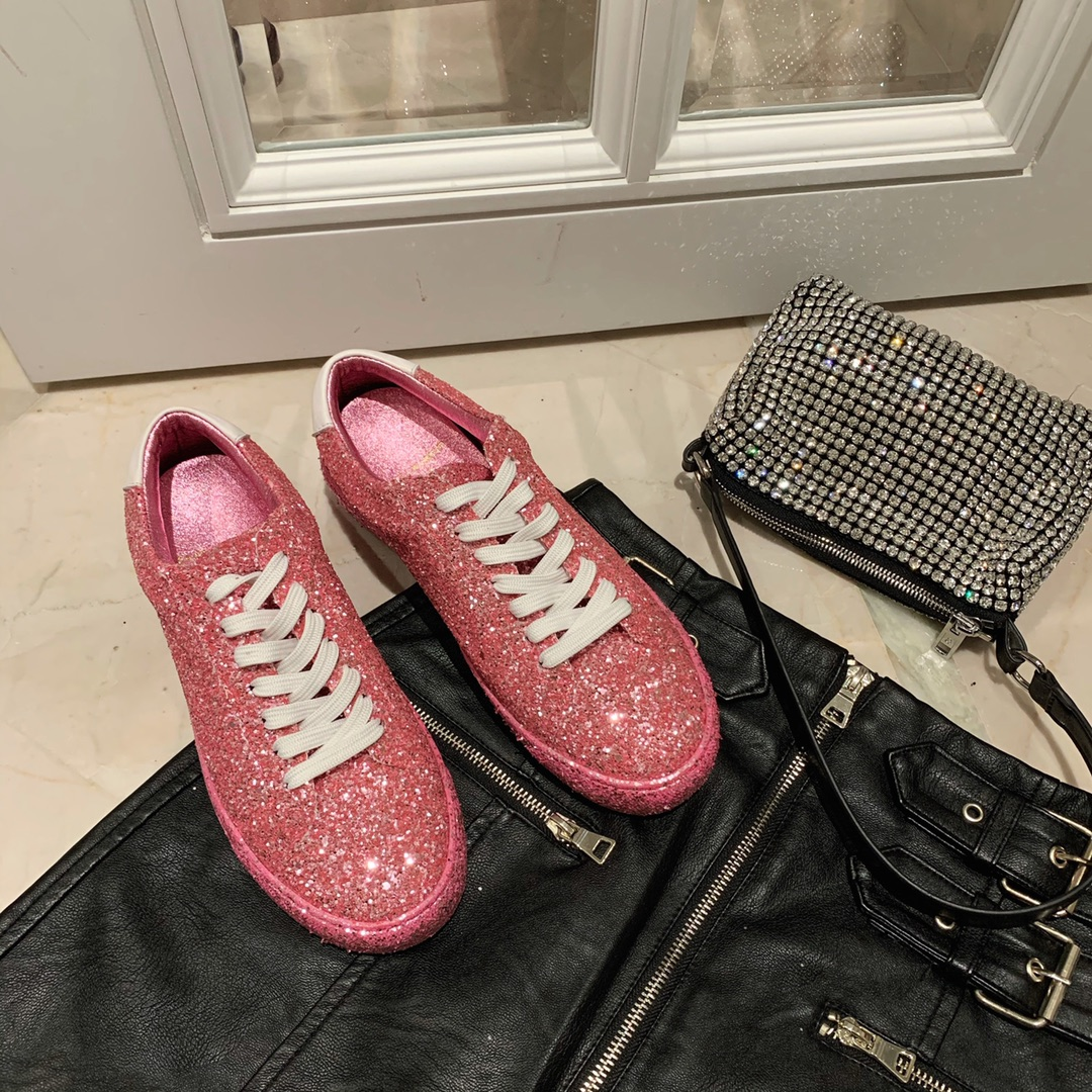 2020 New Saint Laurent shiny sneakers red