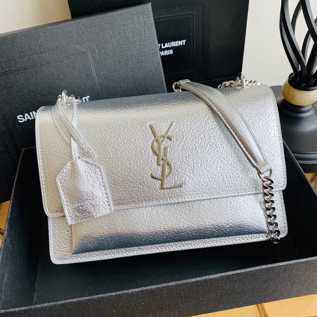 2020 Saint Laurent Medium Sunset Bag silver