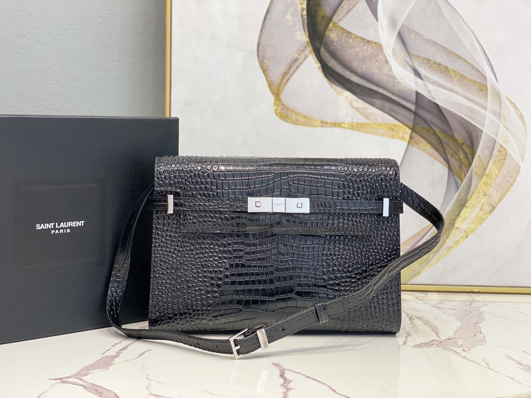 2020 Cheap Saint Laurent manhattan shoulder bag in black crocodile-embossed shiny leather with silver hardware