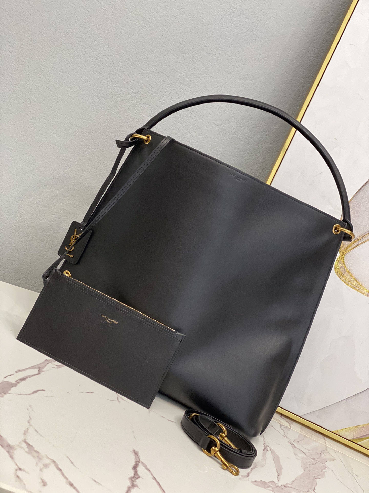2020 cheap Saint Laurent tag hobo bag in smooth saddle leather Black