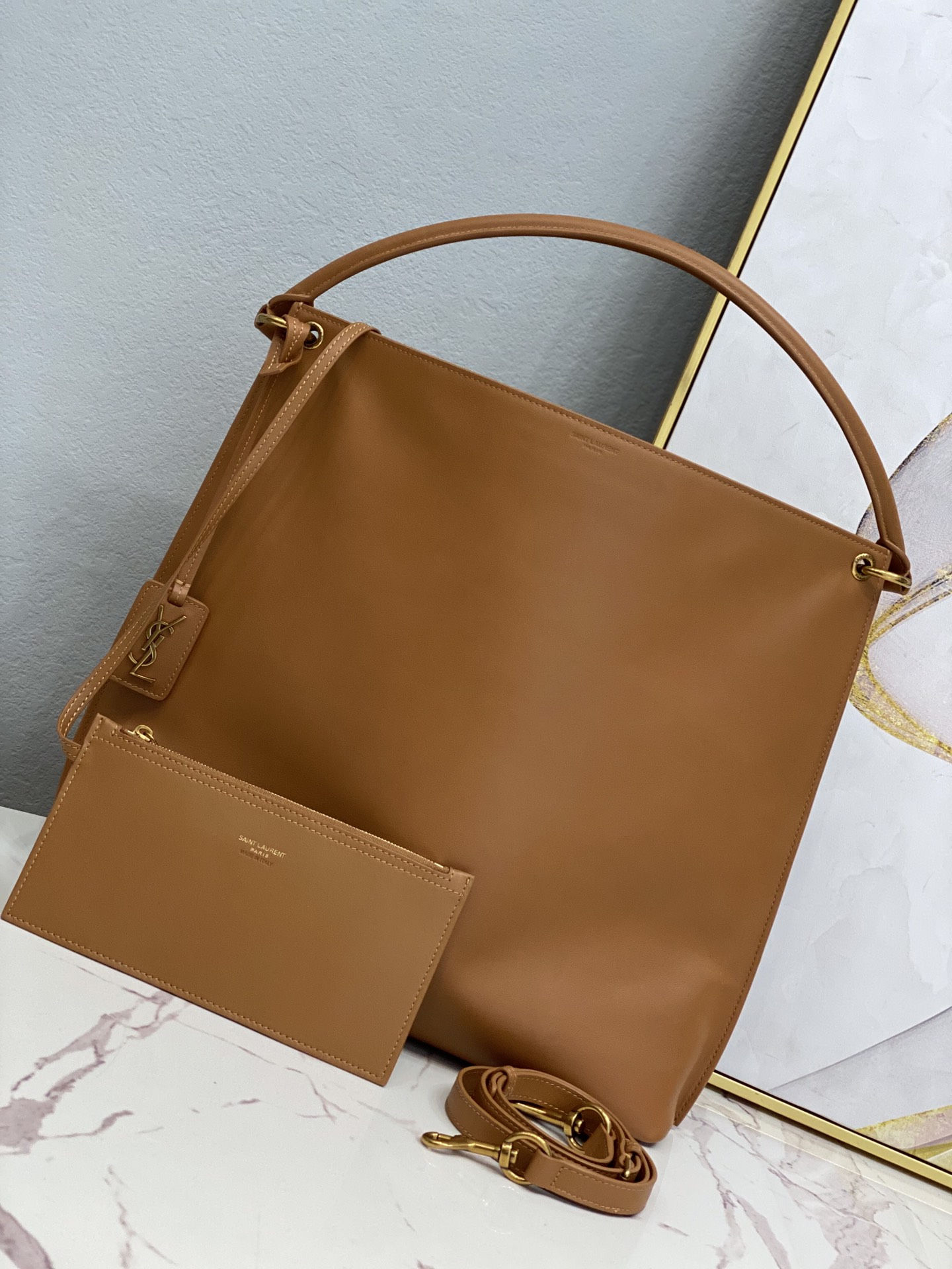 2020 cheap Saint Laurent tag hobo bag in smooth saddle leather BROWN