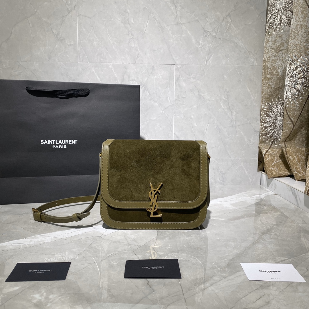 2020 cheap Saint Laurent solferino medium soft satchel in suede and smooth leather ANEMONE GREEN