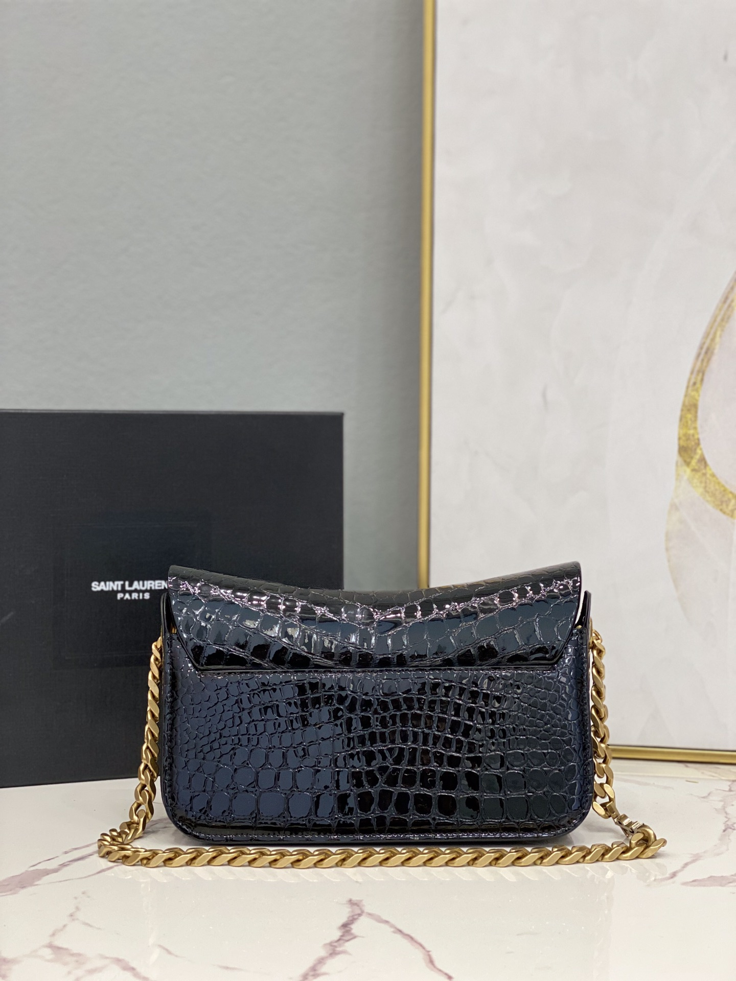 2021 Saint Laurent elise shoulder bag in alligator-embossed patent leather