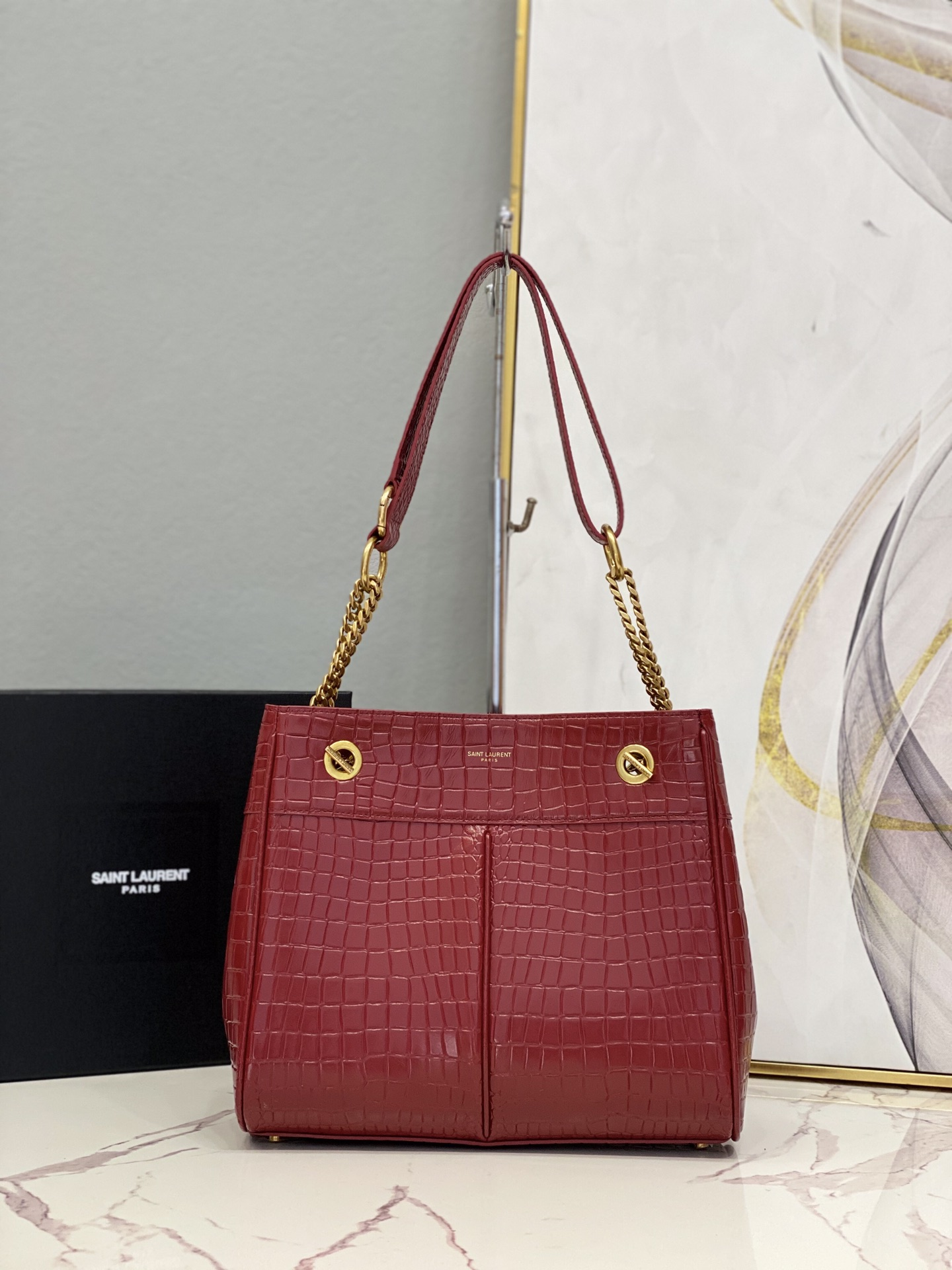 2021 saint laurent claude shopping bag in crocodile-embossed leather red