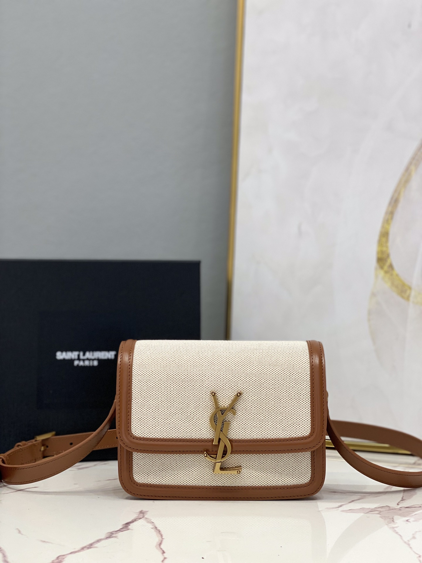 2021 cheap Saint Laurent solferino small satchel in cotton canvas and leather