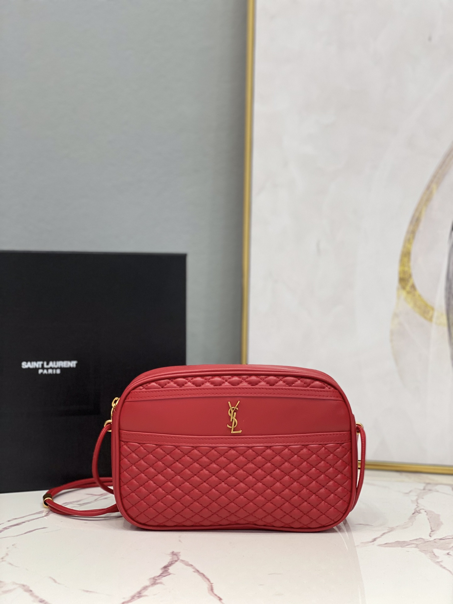 2021 Saint Laurent victoire camera bag in quilted lambskin red