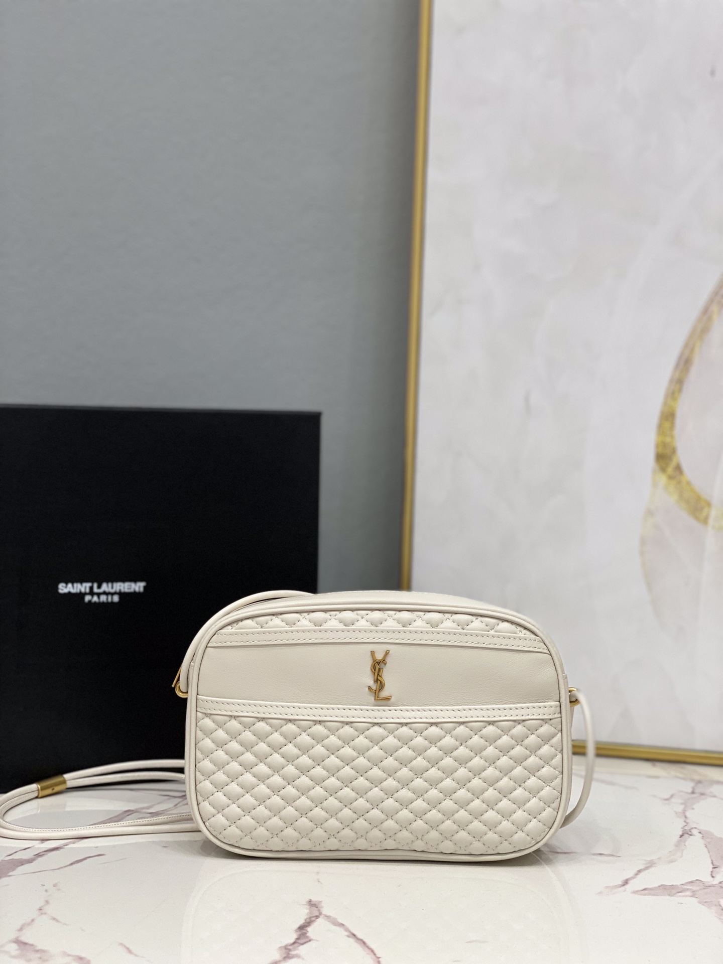 2021 Saint Laurent victoire camera bag in quilted lambskin white