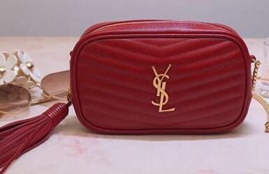 2020 Saint Laurent Lou Mini Camera Bag In Matelasse Grained Leather red