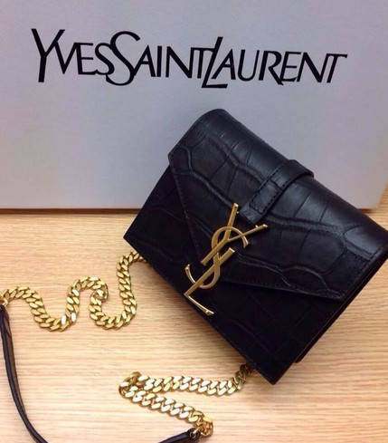 -2014 Saint Laurent Monogramme Saint Laurent Candy Bag in black crocodile Leather