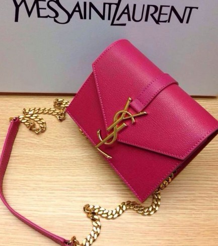 -2014 Saint Laurent Monogramme Saint Laurent Candy Bag in Neon Pink Leather