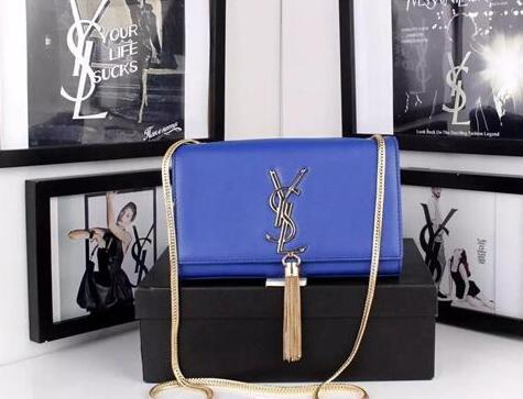 Classic Saint Laurent Monogram Tassel Satchel in blue leather