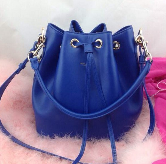 2014 Signature Saint Laurent bucket bag with removable tubular in blue,YSL Bags 2014