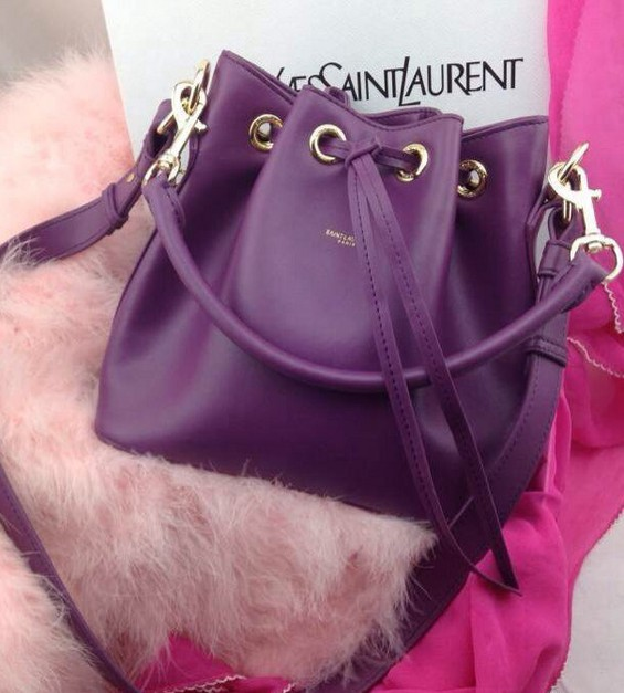 -2014 Signature Saint Laurent bucket bag with removable tubular in purple,YSL Bags 2014