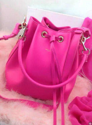 2014 Signature Saint Laurent bucket bag with removable tubular in Rose,YSL Bags 2014