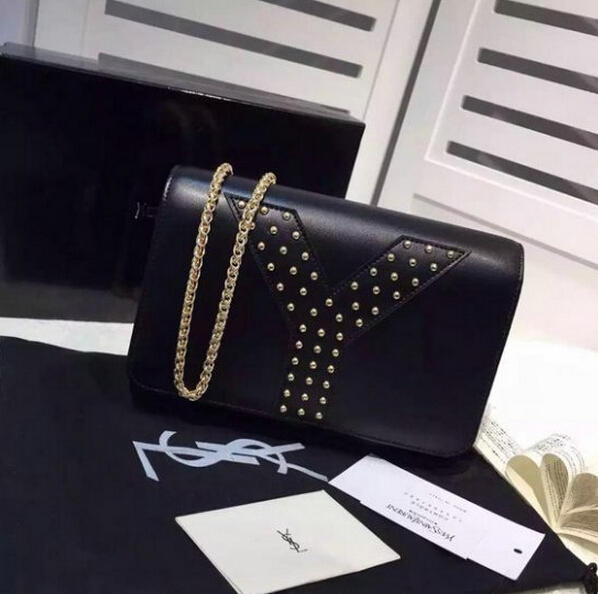 F/W 2015 New Saint Laurent Bag Cheap Sale-Saint Laurent Black Chain Clutch Wallet Bag with Studs detailing
