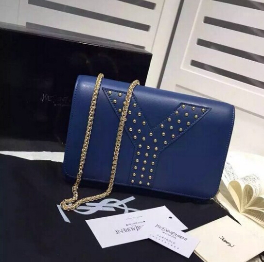 F/W 2015 New Saint Laurent Bag Cheap Sale-Saint Laurent Navy Blue Chain Clutch Wallet Bag with Studs detailing