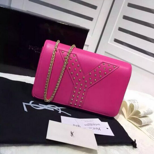 F/W 2015 New Saint Laurent Bag Cheap Sale-Saint Laurent Rose Chain Clutch Wallet Bag with Studs detailing