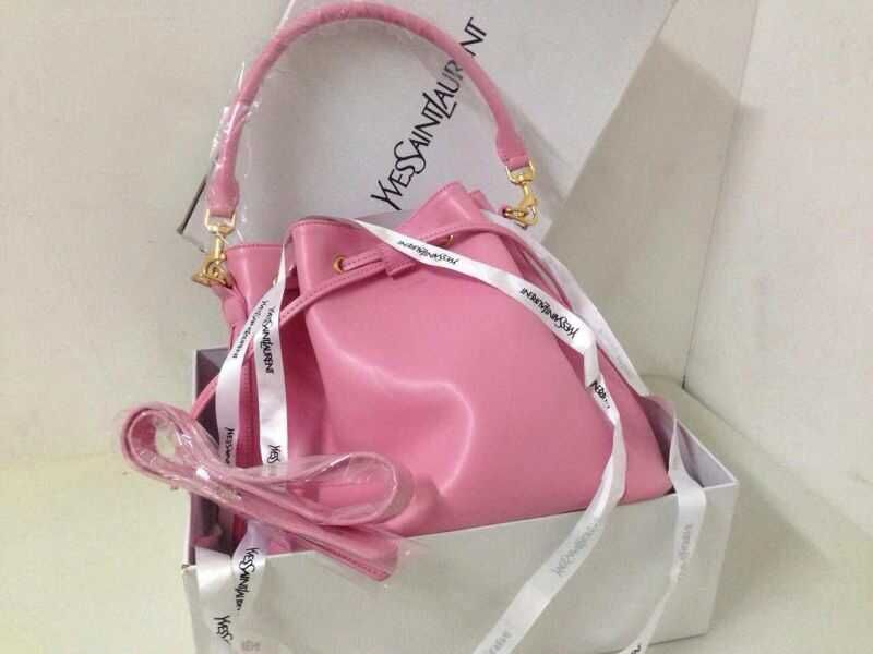2015 Signature Saint Laurent bucket bag with removable tubular in Pink