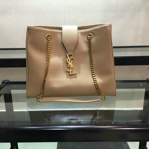 2015 New Saint Laurent Bag Cheap Sale-Saint Laurent Classic Monogram Shopping Bag in Apricot Grained Leather with Gold Chain