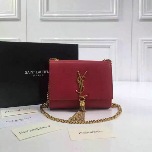 2016 Cheap Saint Laurent Bags Sale-Classic Small Monogram Tassel Satchel in red leather