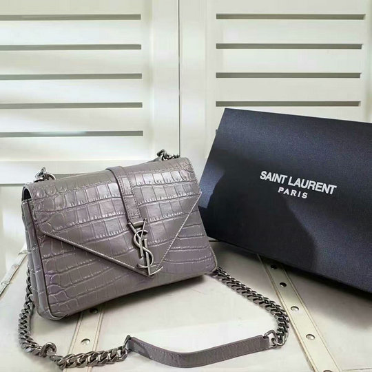 2016 Saint Laurent Bags Sale-Classic Medium Monogram College Bag Grey Crocodile Embossed Leather - Click Image to Close