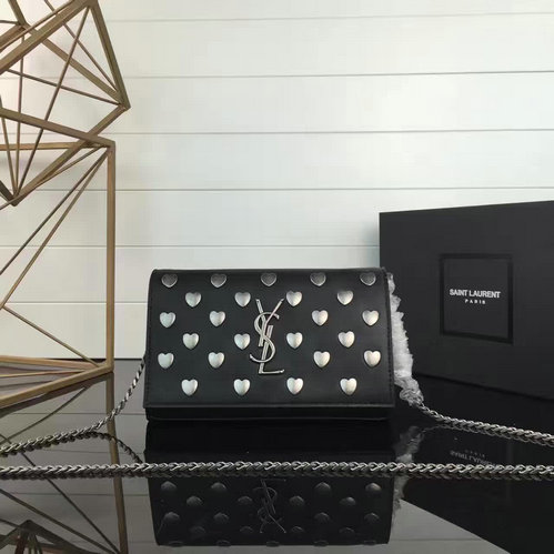 YSL 2016-2017 Collection-Saint Laurent Monogram Heart Studded Chain Wallet in Black Leather and Oxidized Nickel