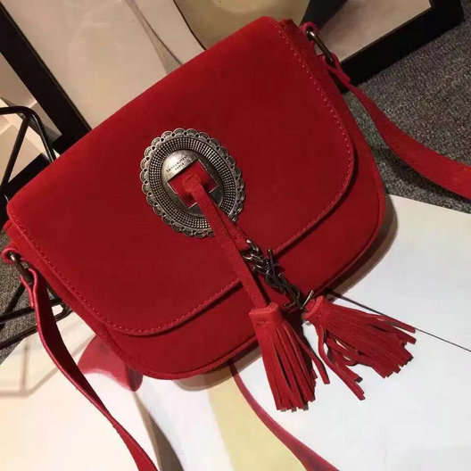 Limited Edition!2016 Saint Laurent Bags Sale-Cheap Saint Laurent Kim Cross Bag in Red suede Leather