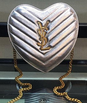 2016 Original Saint Laurent Small Love Heart Chain Bag in Silver Matelasse Leather