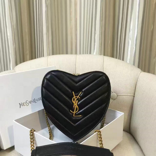 2016 Saint Laurent Bags Cheap Sale-Small Love Heart Chain Bag in Black Matelasse Leather