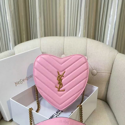 2016 Saint Laurent Bags Cheap Sale-Small Love Heart Chain Bag in Pink Matelasse Leather