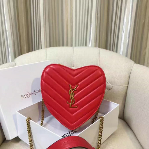 2016 Saint Laurent Bags Cheap Sale-Small Love Heart Chain Bag in Red Matelasse Leather