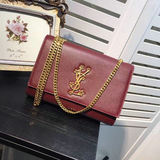 Saint Laurent Classic Medium Kate Monogram Satchel in Bordeaux Grain de Poudre Textured Leather