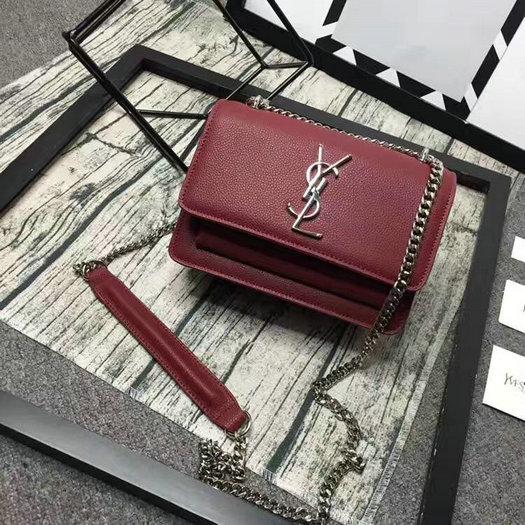 Limited Edition!2016 Saint Laurent Bags Cheap Sale-Saint Laurent Small Sunset Monogram Satchel in Bordeaux Grained Leather
