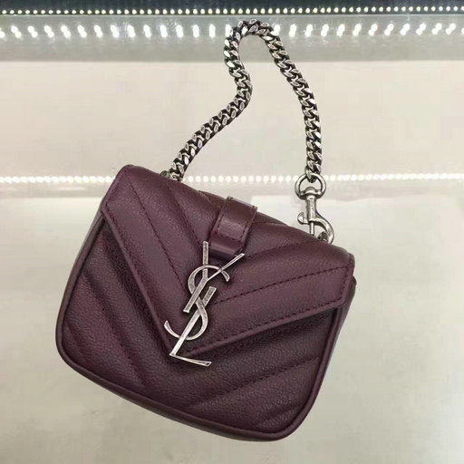 Saint Laurent Autumn/Winter 2016-2017 Collection-Monogram Mini Coin Chain Bag in Bordeaux Matelasse Leather